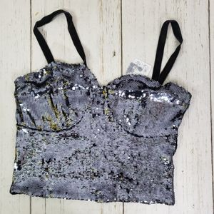 FREE PEOPLE NWT blue sequin crop